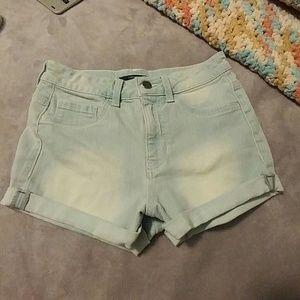 Light Blue High-waisted Short Shorts